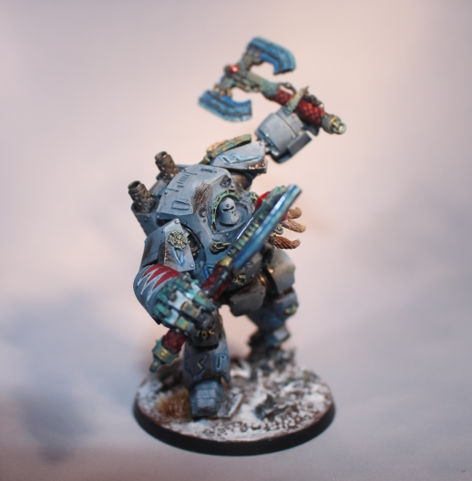 A converted Space Wolf Contemptor Dreadnaught for GW's Warhammer 40k