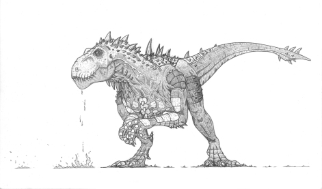 """""""The Monster God, Titanix"""" The father of all dinosaurs and the creator of The Onyx Ribcage, Titanix was the first entity I ever created for my fantasy universe. Created over a decade ago, he's undergone many changes. At his core though, he's still a misunderstood powerhouse... who can breathe a beam of plasma."""