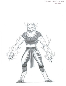 """""""The White Hound"""" This character is known as Naxos. He is a Hound Warden (based on Hound Archons). The idea behind him was a pawn who grew his own personality and became his own being. He also like lightning magic."""