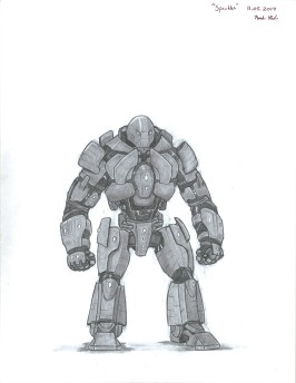 """""""Speckles: The Metal Giant"""" Name because he was found covered in blood, Speckles is actually a misunderstood being. He is a Warforged. His purpose was as the name implies, however his race was granted freedom. Before finding a friend named Chester, Speckles sat in standby, unsure of what to do with his existence."""