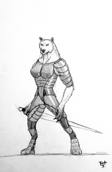 """""""The Righteous Archon"""" This was another character I drew for a different campaign. She was a white Hound Archon who had been sent to the material plane to dispose of evil. I personally found her character entertaining because she was very naive."""
