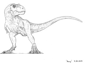"""""""Rexy"""" I've always had a love of dinosaurs. I have no problem with the concept of feathered dinosaurs, but I've always had a preference for the interpretation of them without feathers. In my roleplay setting I have written a way to have dinosaurs. As such, I can have them look however I choose."""