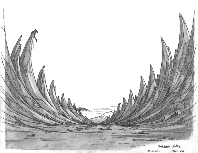"""""""The Onyx Ribcage"""" In my fantasy setting, Gods and Monsters run rampant. There are powerful entities that roam called the Titans. They are generally rather isolated and dormant. However, one such entity was thrown into a frenzy after being pestered by lesser beings. Once the creature was angered, it loosed a beam of pure energy, turning the ground to black onyx and creating a valley. In the years since it's creation, wyverns have taken to nesting there."""